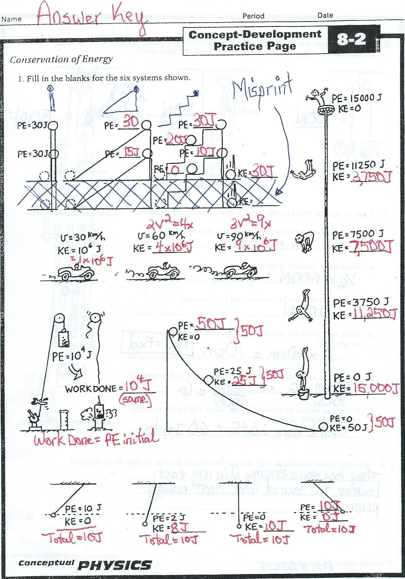 Conservation of energy practice worksheet answers