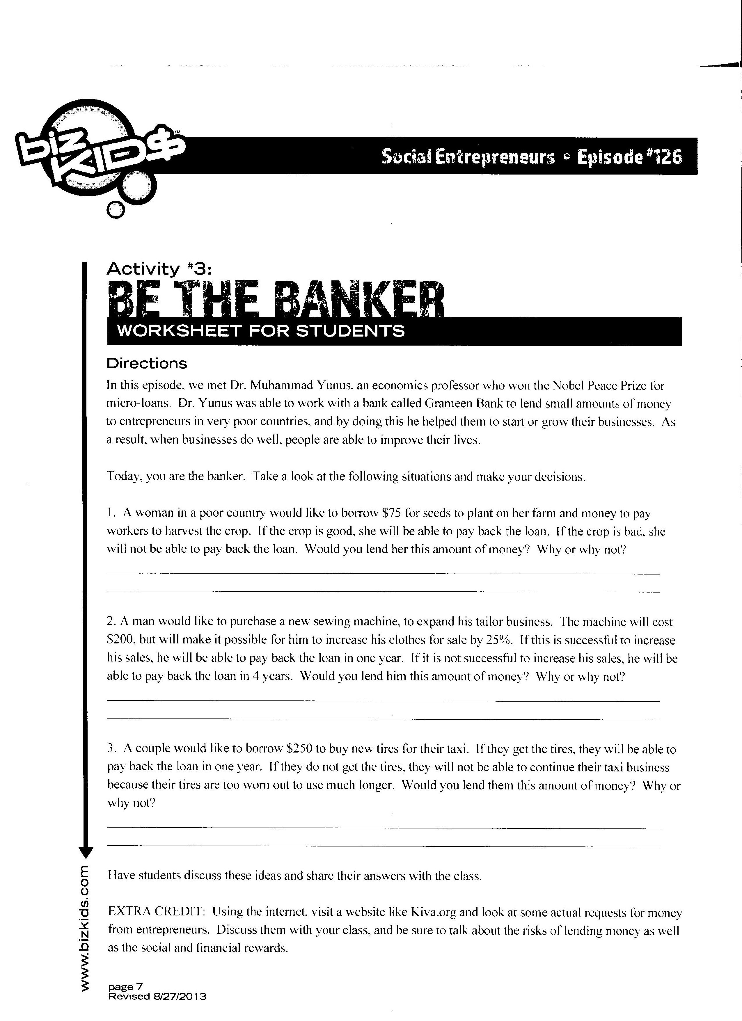 Financial worksheets for highschool students