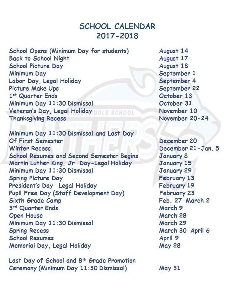 School Calendar 2017 - 2018 – School Calendar – South Pointe Middle