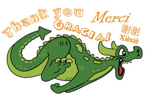 thank you in different languages with a dragon