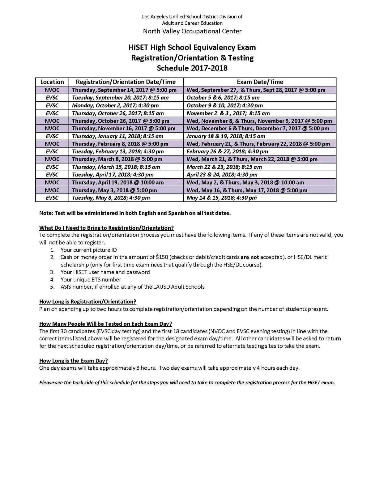 HiSet Test Schedule 2017-18