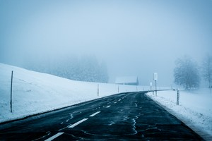 Image of a snowy road