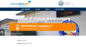 Corey School wins $15,000