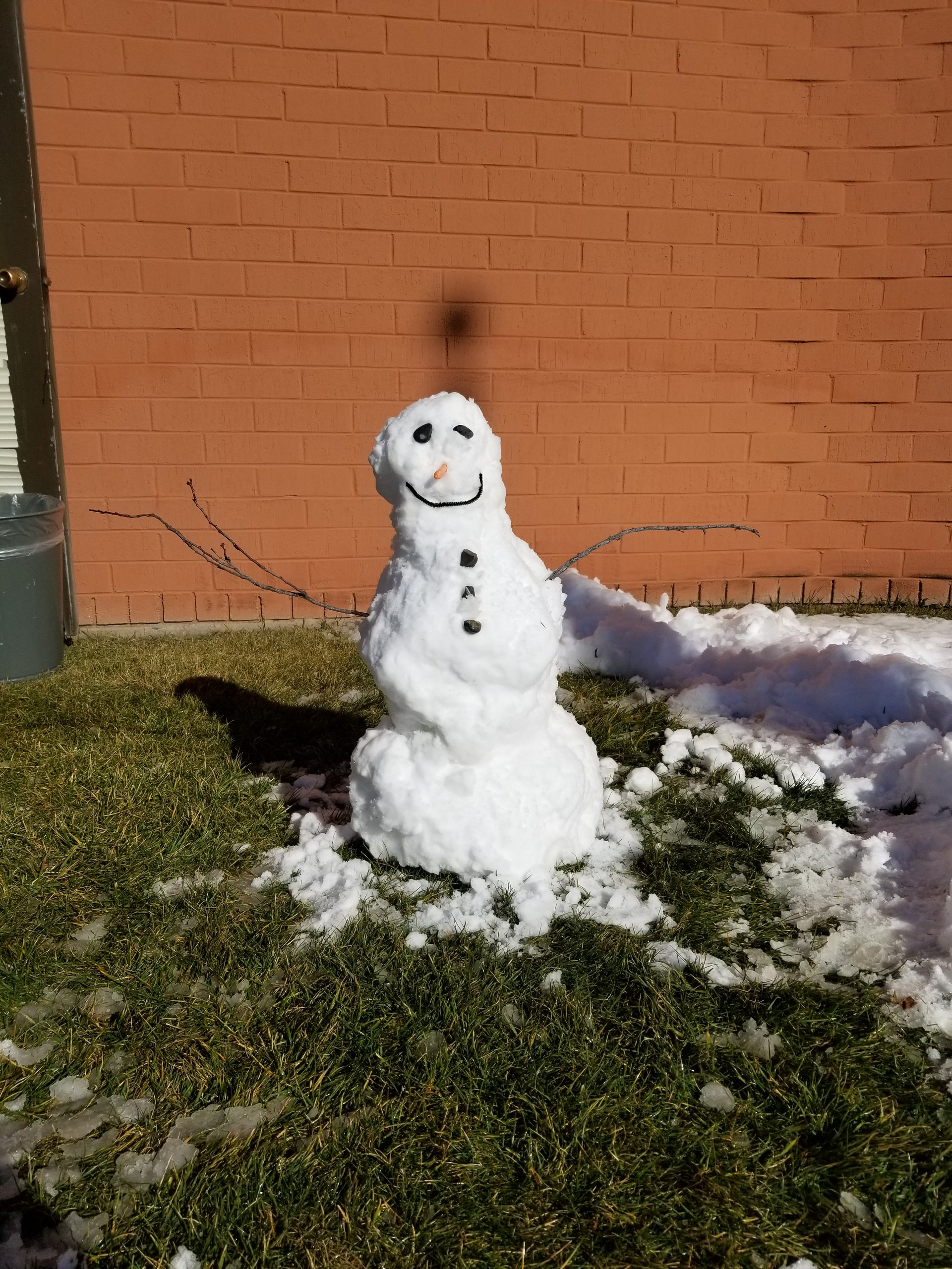 We built a snowman outside our classroom door!
