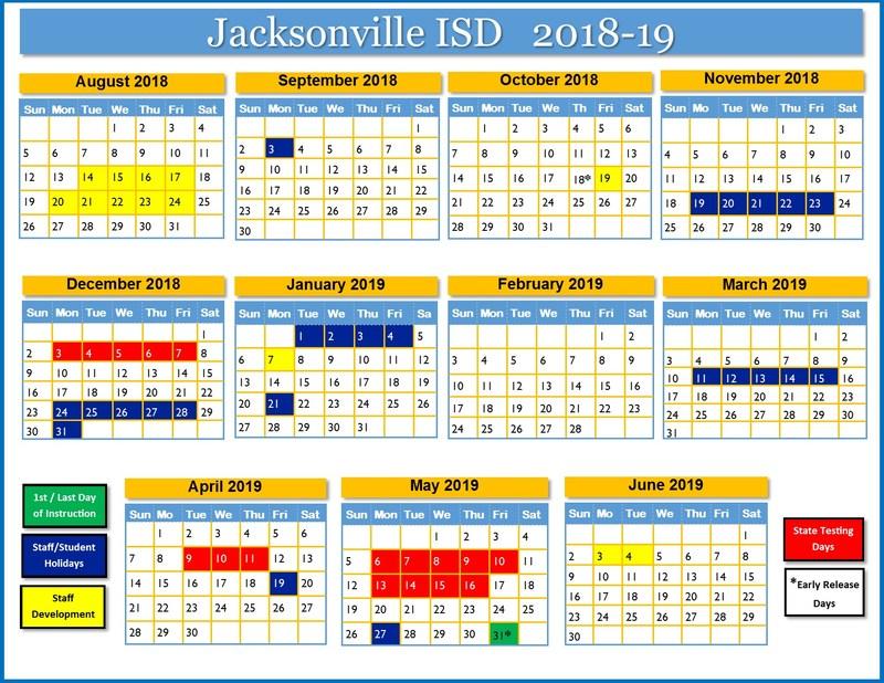 JISD annual school calendar by months