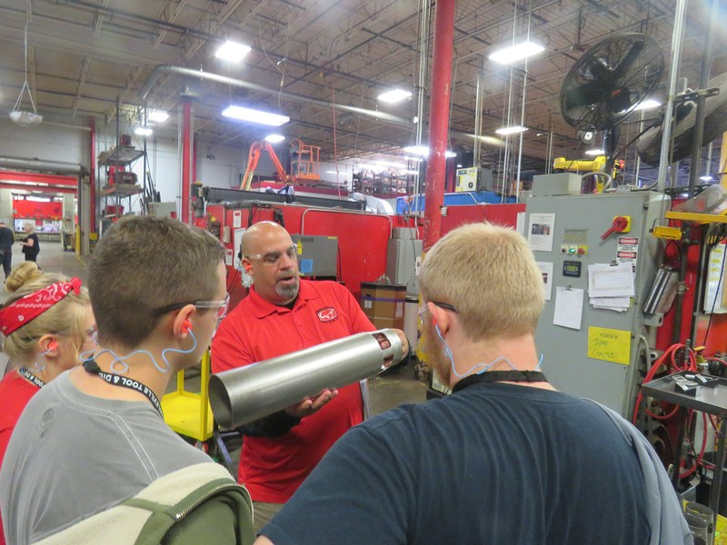 Officials at Middleville Tool and Die talk to TKHS students about manufacturing careers.