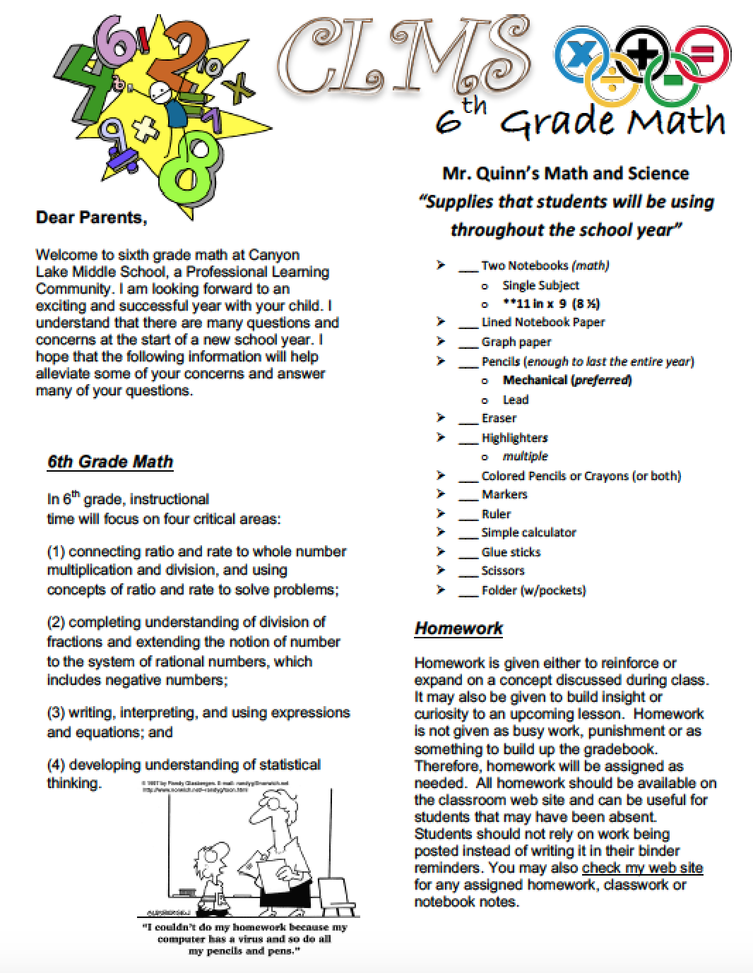 Math and Science Welcome Letter(s) – Mr. Joseph Quinn – Canyon Lake ...