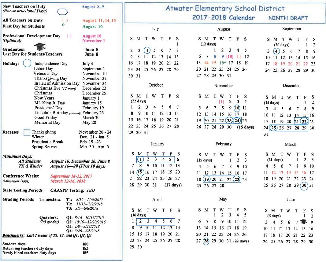 2017 - 2018 School Year Calendar