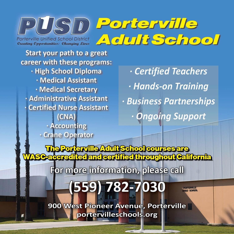 Porterville Adult School ad