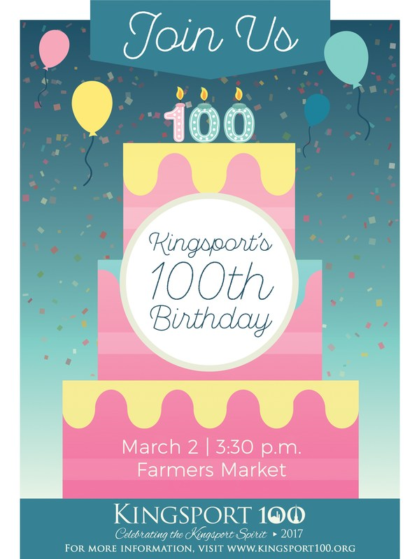 Kingsport's 100th Birthday invitation