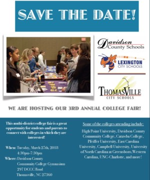 Third Annual College Fair March 27 | 4:30 pm-7:30 pm Davidson County Community College