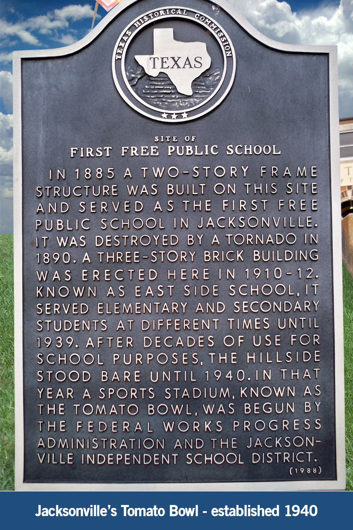 historical marker at the tomato bowl