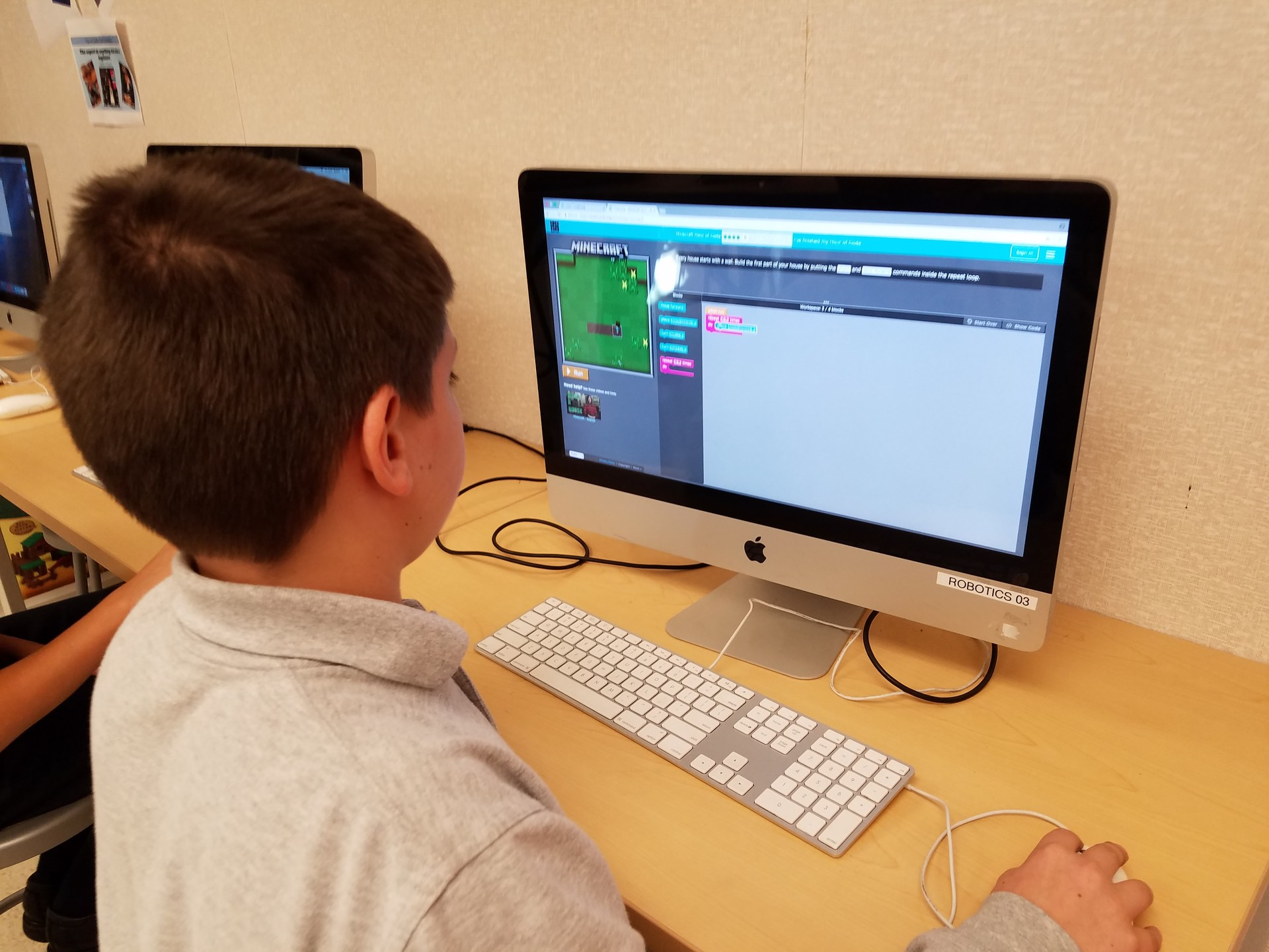 Boy student learning coding