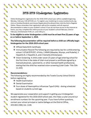 Kindergarten Registration information for 2018 to 2019