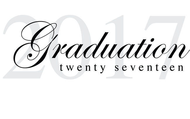 Text reads 2017 in grey in the background with a script Graduation overlay