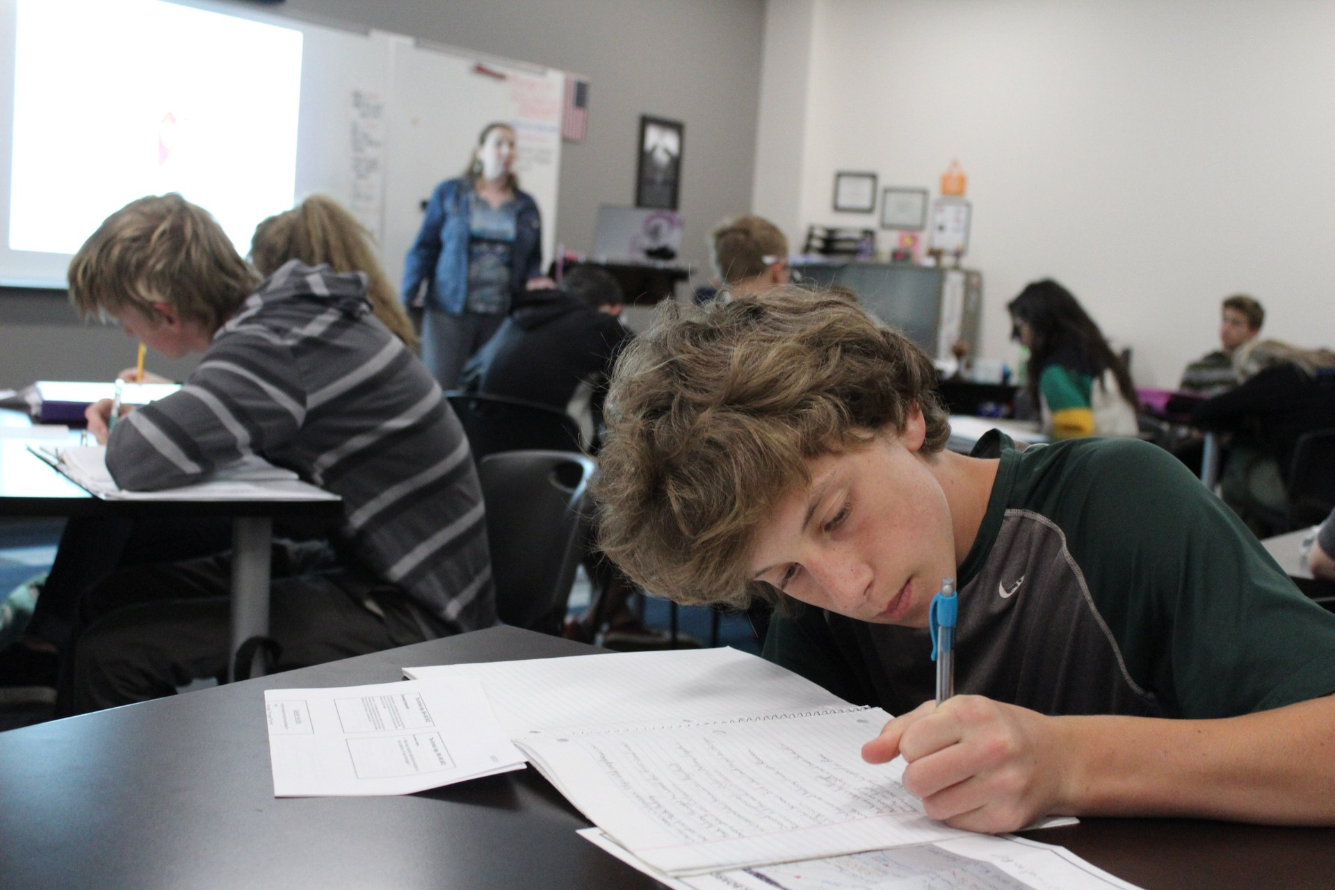 Students working hard
