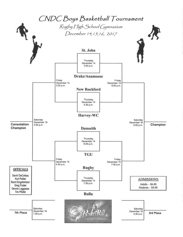 2017 Boys Basketball CNDC Tournament Schedule