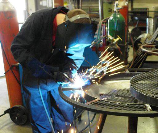 Student in welding class