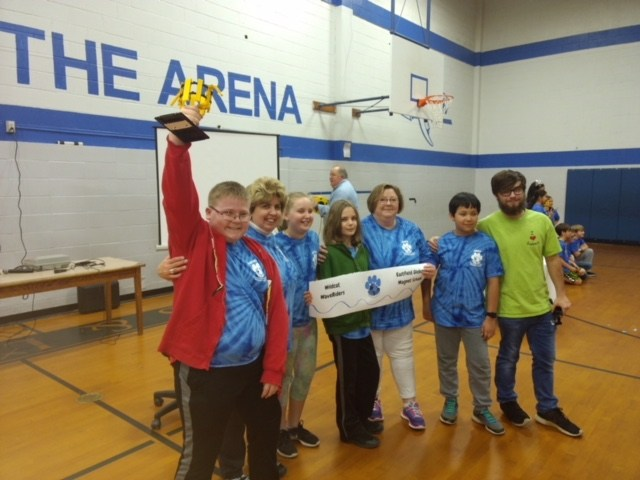 EGMS Robotics Team with first place trophy at the Robotics Competition