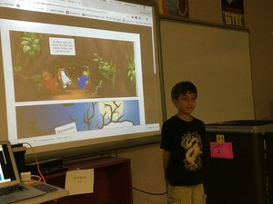 Image: Student presenting a comic strip he created