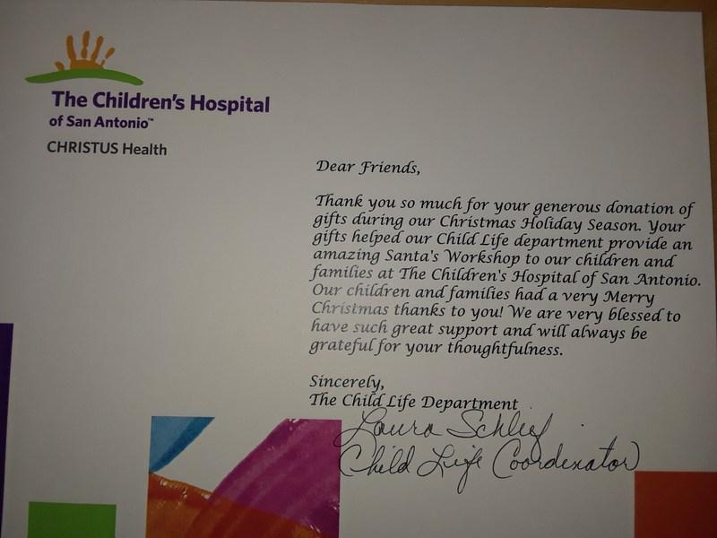 Santa Rosa Children's Hospital-Teddy Bear Drive Letter of Appreciation Featured Photo