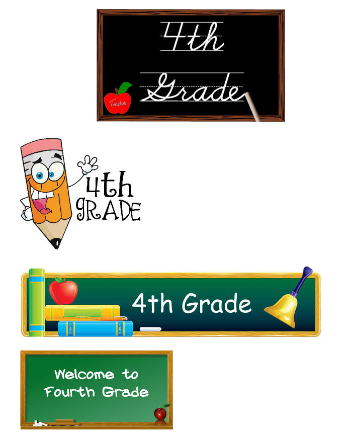 Various signs that say fourth grade