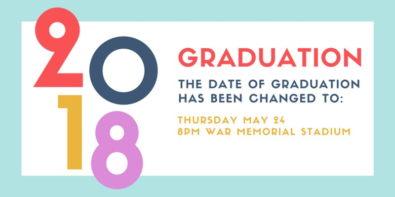 graduation changed to thursday may 24 at 8pm