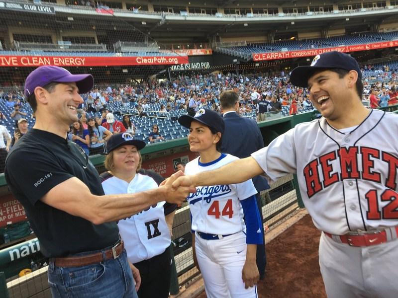 US Representative Ruiz wears Hemet High Baseball Jersey