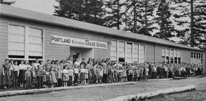 Photo from 1953 of students in front of the Portland Christian Grade School building