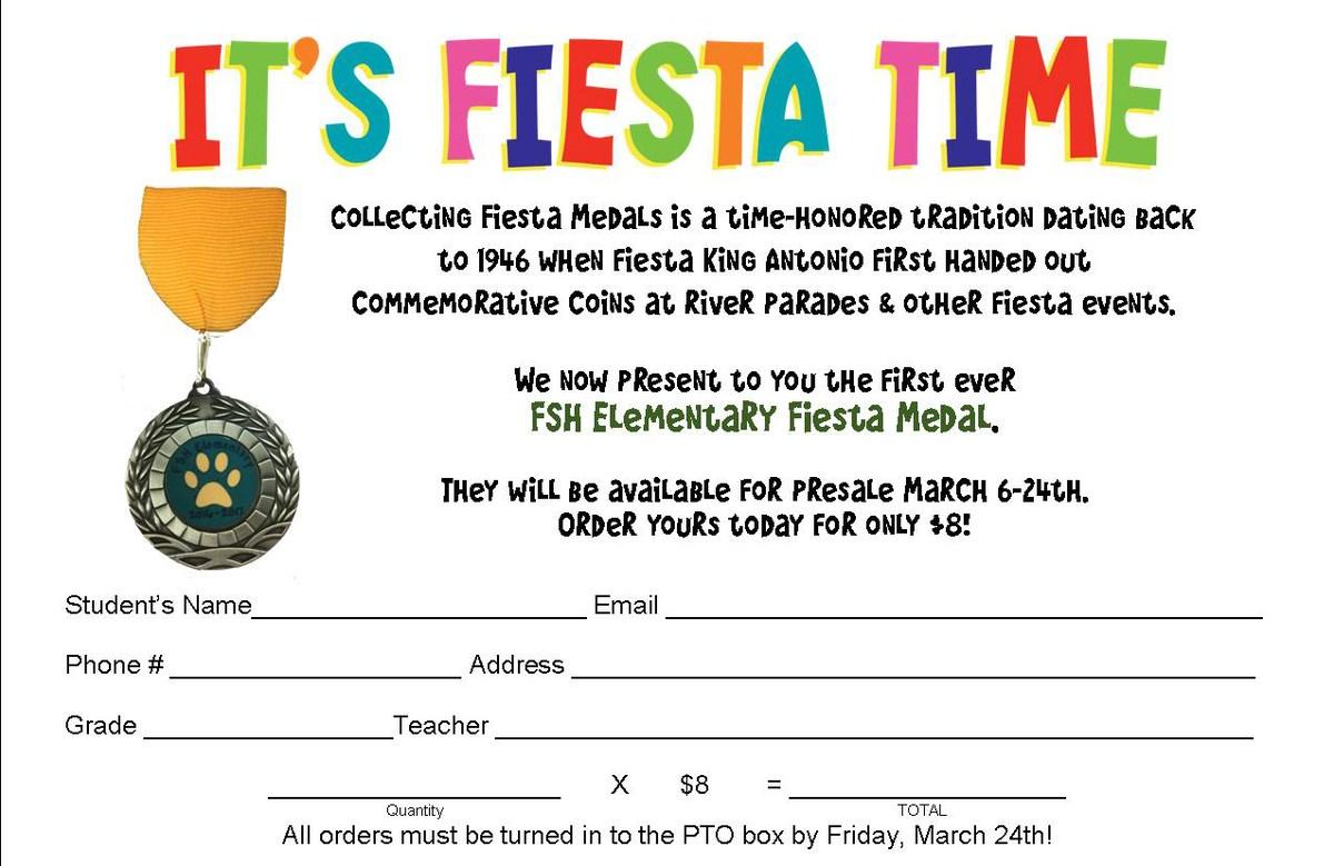 Fiesta Medals Order Form