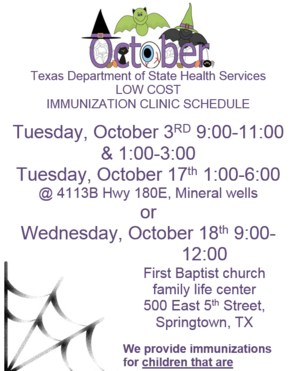 A flyer that contains dates for the low cost immunization clinic.
