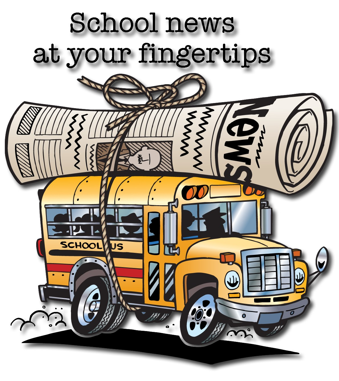 image of rolled newpaper on top of a school bus