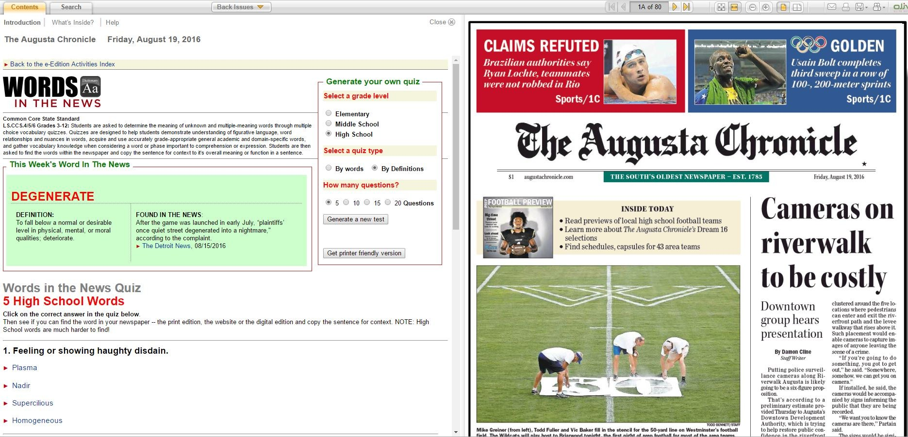 Picture of an online newspaper