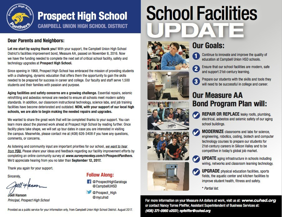 Prospect High School facility, safety, and technology upgrade mailer