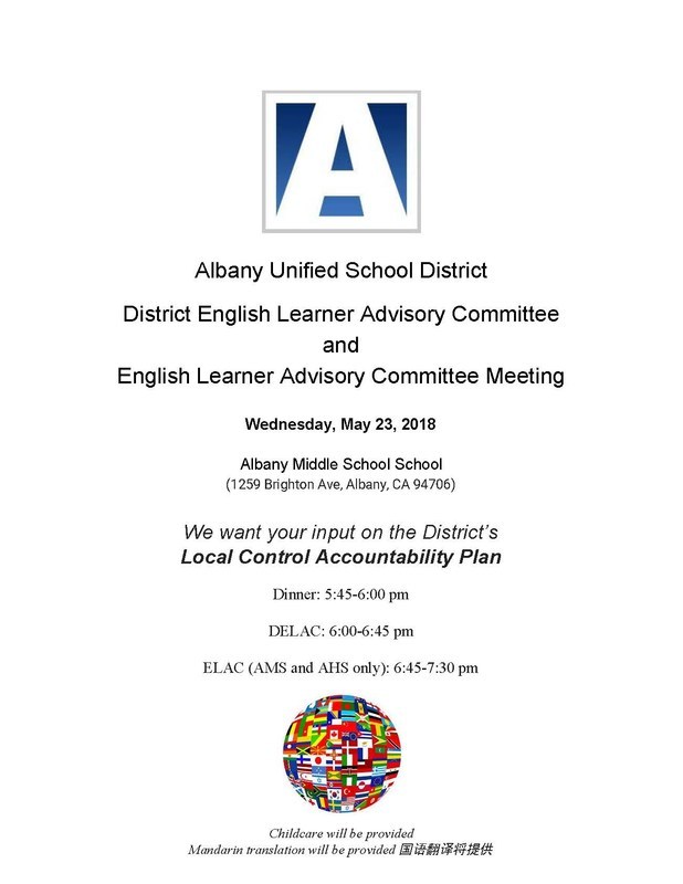 DELAC and ELAC Dinner and Meeting Flyer