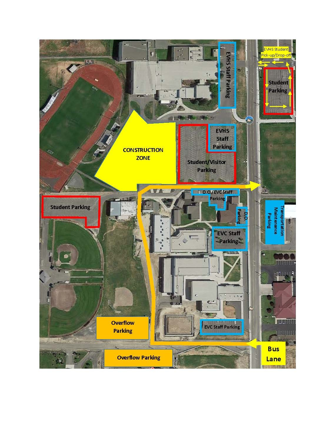 map showing the three available parking lots for student parking at East Valley High School.