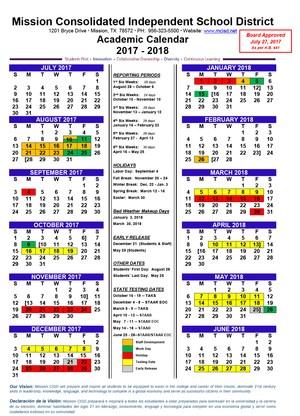 Sample image of the school calendar