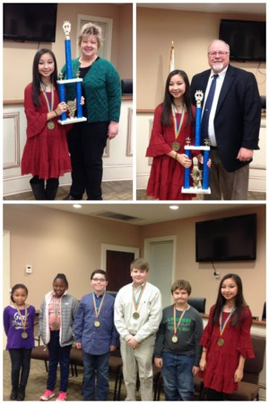 Left to Right. Layla Scott (WES), DaKayla Jackson (BES), John Lee Crim (WBES), Haston Crawford (CMS), A J Martin (RES), and Emily Boles (WBMS) all competed in the Bibb County Spelling Bee tonight. Congratulations to winner Emily Boles! Also Emily with her trophy and superintendent and counselor.