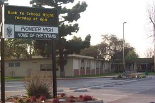 Pioneer High School Staff Parking lot and digital display
