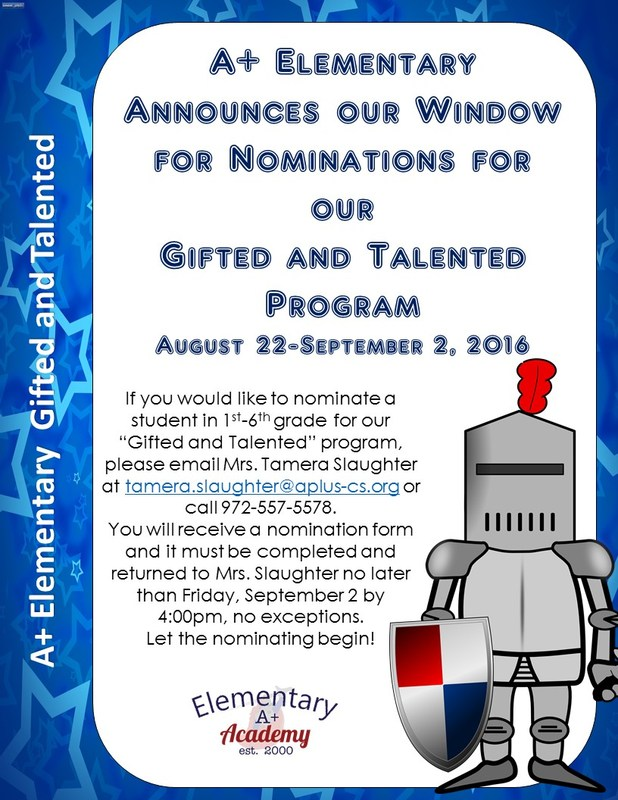 Gifted and Talented Nomination Window Opens Thumbnail Image