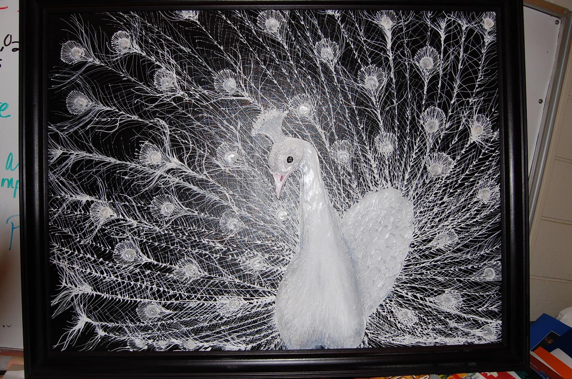 Acrylic 'White Peacock'
