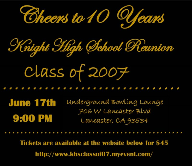Class of 207 10 year Reunion information