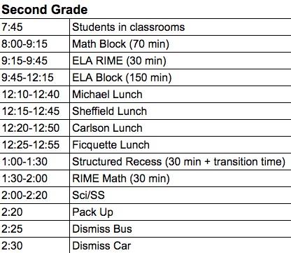Image of 2nd grade regular schedule