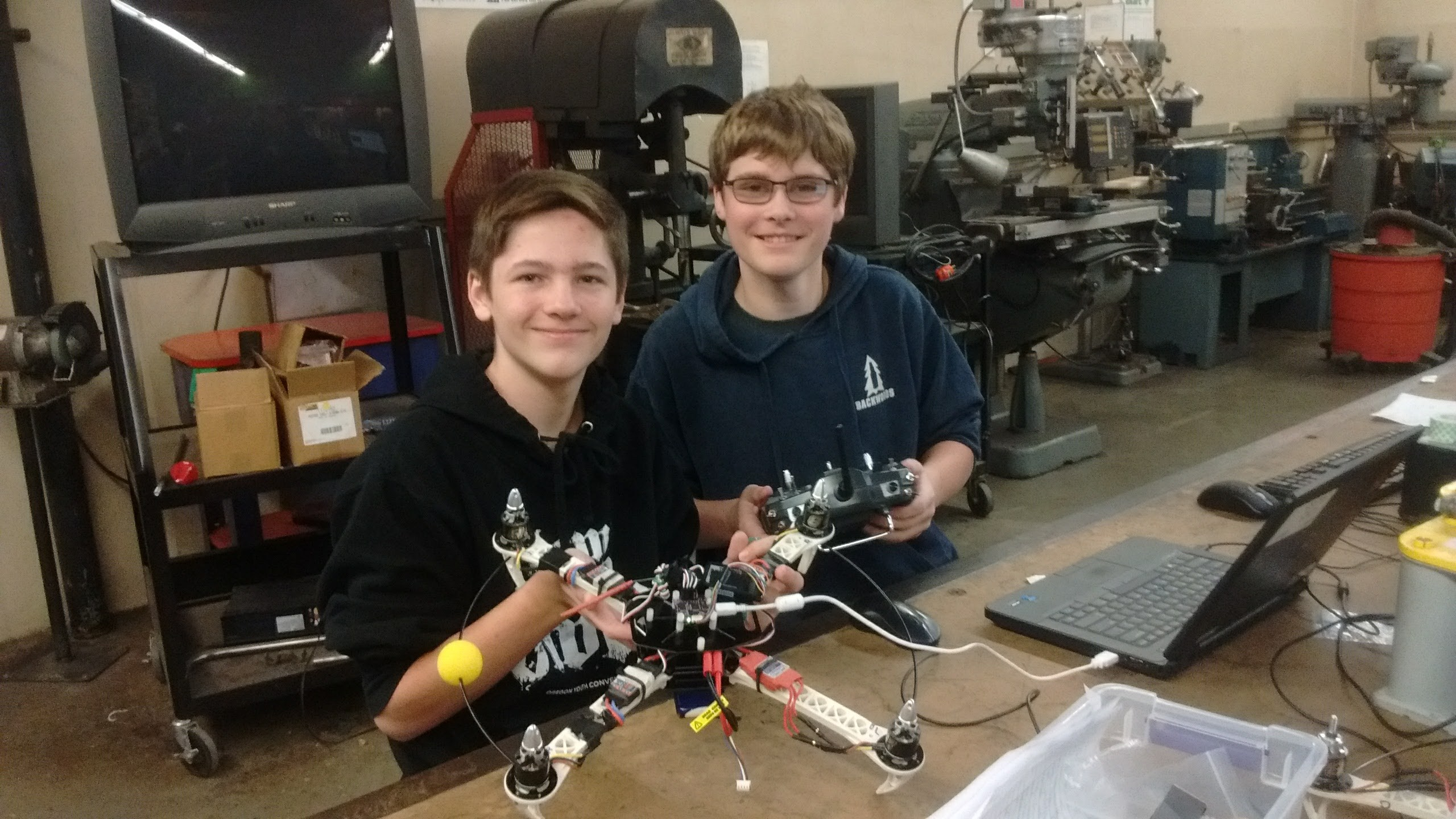 Students with a robotics project