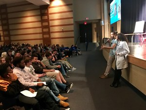 Dr. Andrew Marshall and Dr. Maria Lynes speaking to students