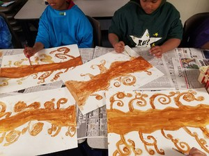 Students working in Art.