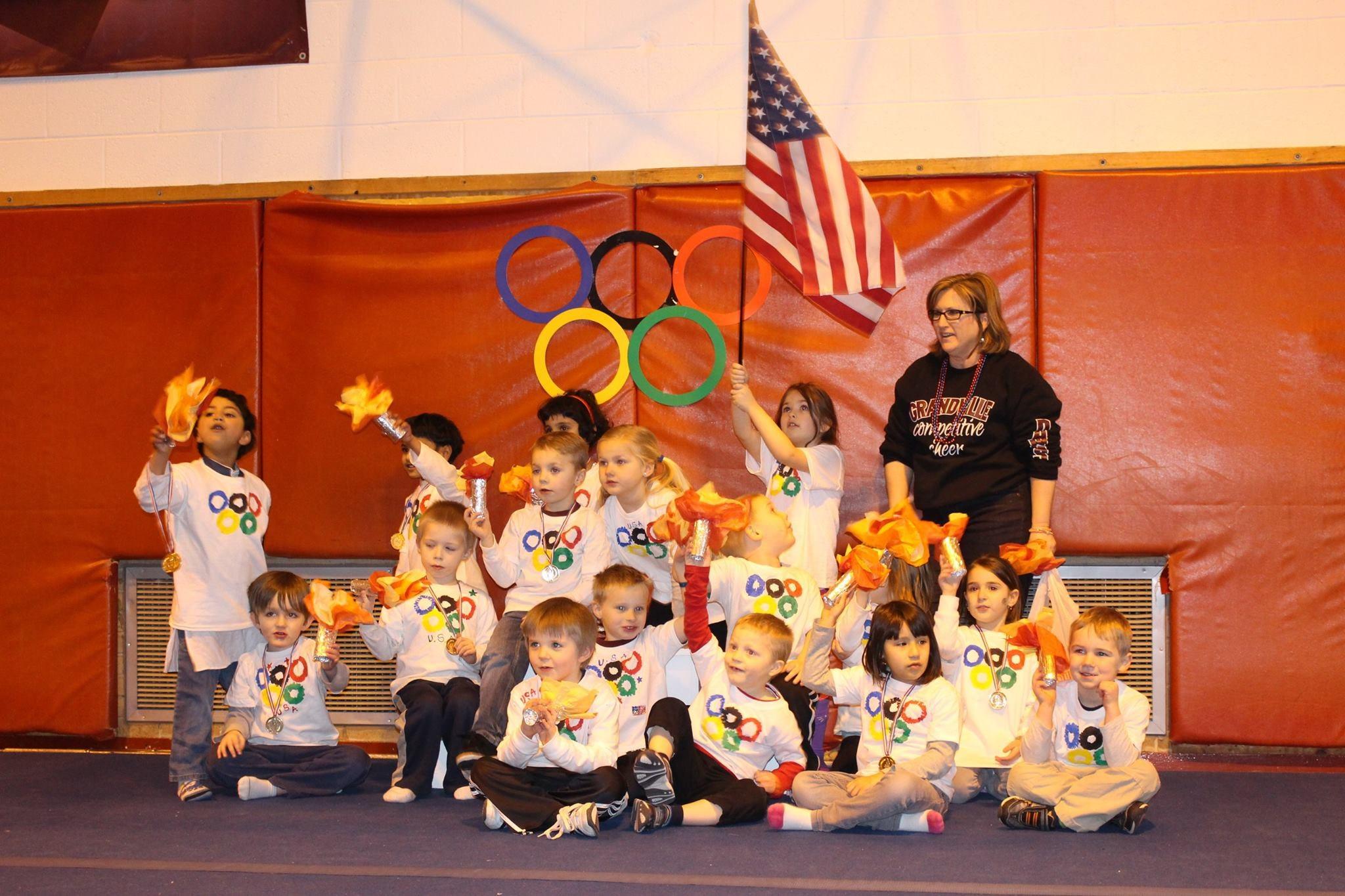 kids celebrating Olympics