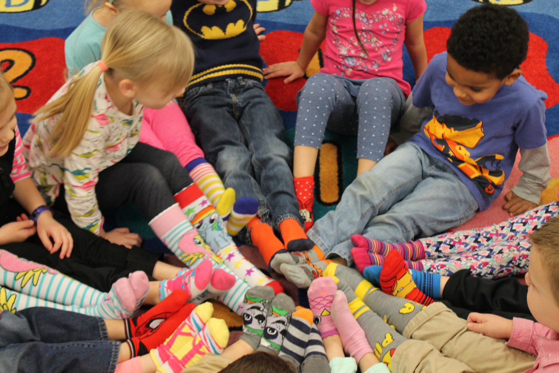 Crazy socks day in preschool