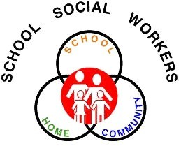 School Social Workers Icon with three circles connecting school, home, and community.