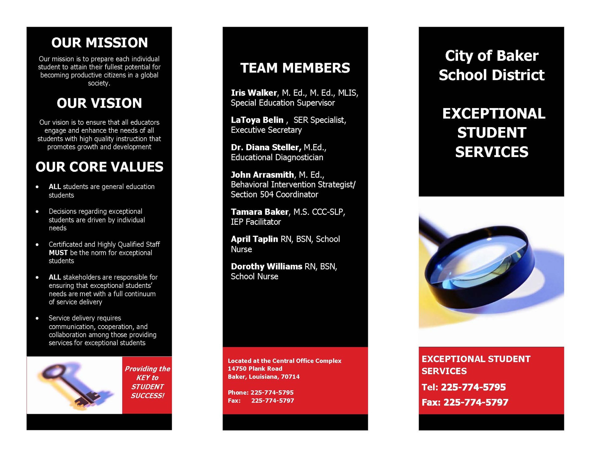 Page one of the Exceptional Student Services Brochure. It is a graphic